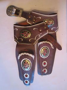 Vintage Kids Western Gun Holster Belt Leather Country Cowboy Play Toy