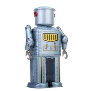 Cool Vintage Windup Toy Mechanical Robot Collectible Gift w Key Bluish Grey New