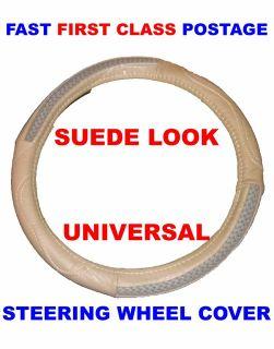 Universal Beige Suede Leather Look Car Van Caravan Truck Steering Wheel Cover