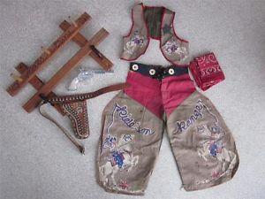 Vtg 1950's Childs Toy Hat Gun Rack Leather Holster Chaps Cap Vest Cowboy Outfit