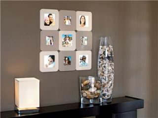 Collage Photo Picture Frame 9 Wall Art Tan Brown Modern
