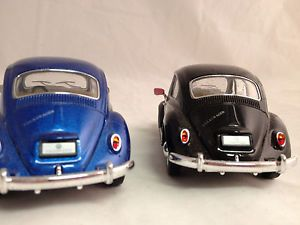 Old Fashioned Volkswagen Beetle Bug Blue and Black Thin Tire Kids Toy Car New