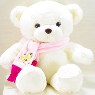 """New Plush White Teddy Bear with Scarf Toy Doll 28""""H"""