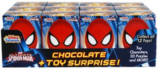Spiderman Milk Chocolate Eggs Toy Surprise Box 12 Count Candy Tasty Kids Fun New