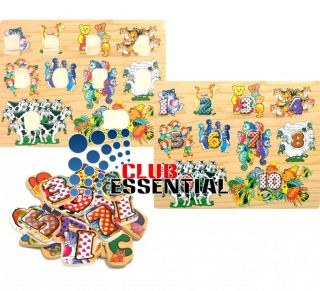 Children Educational Pet Counting Fun Learning Playing Jigsaw Puzzle Wooden Toys
