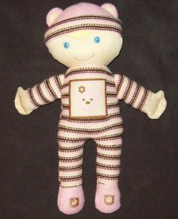 Kids Preferred Pink Brown Stripe Chloe Doll Bear Sweater Knit Baby Toy Plush