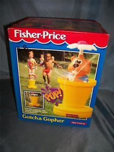 RARE Fisher Price 2830 Gotcha Gopher Kids Pop Up Water Sprinkler Toy 1994