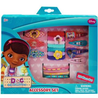 20pc Disney Doc McStuffins Pretend Play Girls Hair Pink Accessory Set Kit