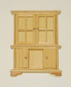 EHI Miniature Dollhouse Furniture Hutch – 4 Opening Doors – Unfinished