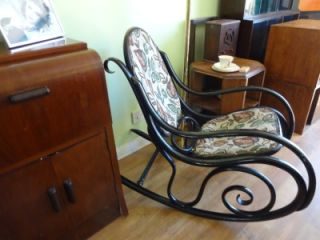 Antique Art Deco Ebonised Thonet Style Bentwood Rocking Chair Cornwall