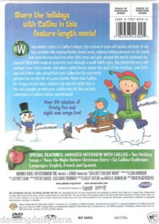 Caillou's Holiday Feature Length Movie 90 MIN Frosty Fun Songs Family Kids DVD 085393423025