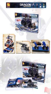 Oxford Kids Bricks Dragon Battleship Series Blue Dragon SHIP DS3401