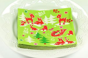 40 Christmas Cocktail Holiday Beverage Paper Napkins Party Supplies Green 2
