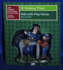 Holiday Time Christmas Village Cowboy Kids Play Horse