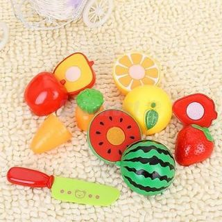 Preschool Toy Kitchen Food Pretend Play Cutting Fruit Vegetable Knife Set New