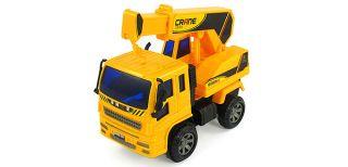 Children Dark Yellow Engineering Hoist Crane Truck Auto Car Toy