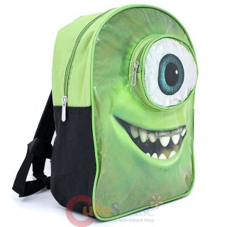 "Monsters University Mike Wazowski Face Pocket Medium School Backpack 12"" Bag"