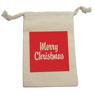 Merry Christmas Red Muslin Cotton Gift Party Favor Bags