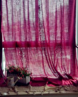 69''X98'' Tab Top French Country Style Cotton Linen Rose Crochet Lace Curtain