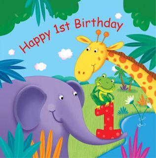 Jungle Buddies Theme Pack 16 Happy 1st Birthday Napkins