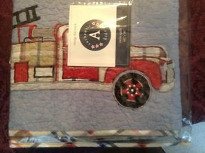 New Authentic Kids Vintage Fire Truck Twin Quilt NIP