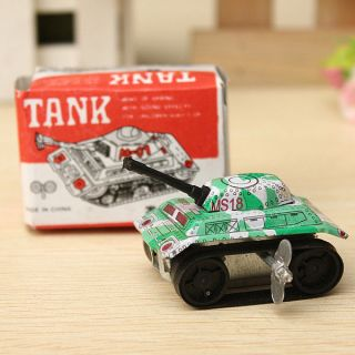 Vintage Clockwork Military Army Tank Wind Up Tin Toys Kids Childrens Favors Gift