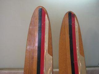 """Vintage Water Skis Wooden Wood Cypress Gardens Dick Pope Jr Vtg 67"""" Set Pair"""