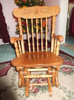 ... Amish Made Solid Oak Childrenu0027s Glider Rocking Chair In Excellent  Condition ...