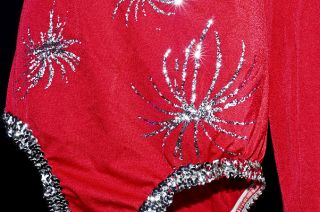 Vintage 80s Shiny Spandex Fireworks Dance Twirl Competition Sequin Adult Leotard
