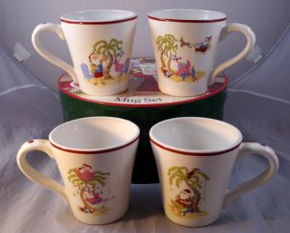 Pink Flamingo Santa Florida Christmas Holiday 4 Mugs Set Palm Tree Beach