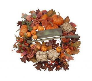 "18"" Heartfelt Welcome Pumpkin Fall Wreath Valerie $72"