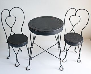 Ice Cream Table Chairs Doll Teddy Bear Heart Design