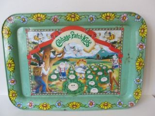 Vintage 1983 80's Cabbage Patch Kids Doll Metal Serving Tray Food TV RARE