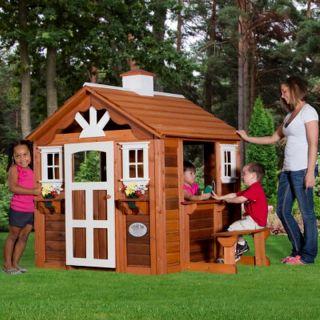 New Kids Wooden Summer Cottage Playhouse Outdoor Cedar Wood Play House