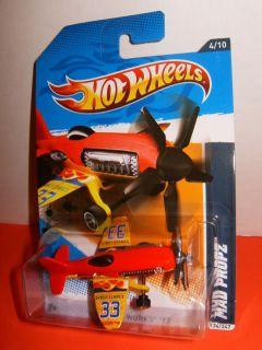 "2012 Hot Wheels 1 64 ""Mad Propz"" Red Yellow 33 Airplane RARE 4 10 134 247 NIP"