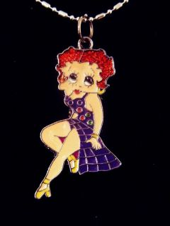 Betty Boop Sparkle Red Head Salsa Purple Dress Necklace
