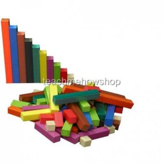 Wooden Cuisenaire Rods Jar Set 126pc Educational Math Rods Fractions School Aid