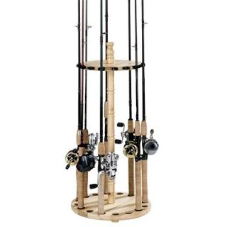 Wood Wooden Fishing Rod Rods Round Storage Rack Racks