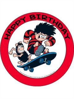 Dennis The Menace Gnasher 'Skate Board' Happy Birthday Cake Topper 7 5in 190mm
