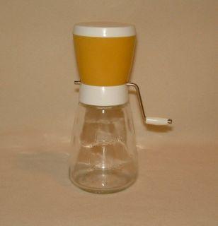 Vintage Federal Housewares Nut Chopper Grinder Mustard Yellow 1 Cup Glass Jar
