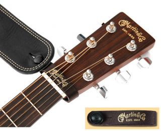 Martin Acoustic Guitar Leather Strap Button Brown