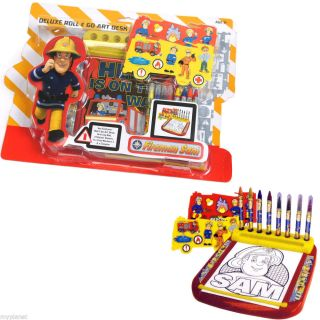 Fireman Sam Deluxe Roll Go Art Desk Colouring Activity Set Kids Creative Toy