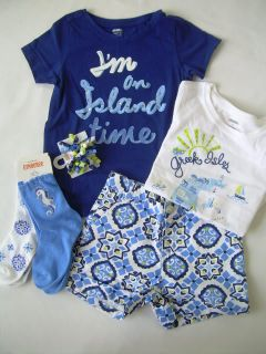 New Girls Spring Summer Clothes Lot Gymboree Greek Isle Style Mosaic Shorts Sets
