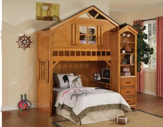 Tree House Rustic Oak Finish Wood Twin Loft Bed with Book Shelf Cabinet
