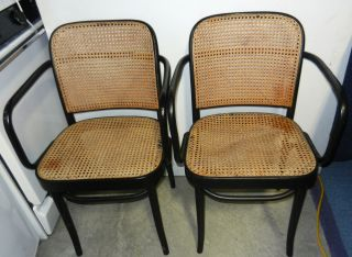 Pair Vintage Thonet Bentwood Cane Chairs Made in Poland