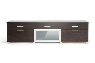 Brown Modern Big Screen LCD LED HD TV Media Stand Cabinet Credenza Glass Door