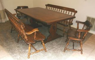 Ethan Allen Old Tavern Style Dining Room Trestle Table 2 Benches 2 Chairs