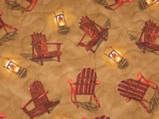 Handmade Quilted Table Runner Fall Cabin Thanksgiving Pumpkins Wildlife Lanterns