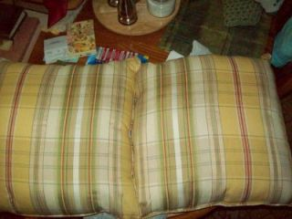 Matching Set of 2 Yellow Plaid Sofa Throw Pillows England Furniture Company
