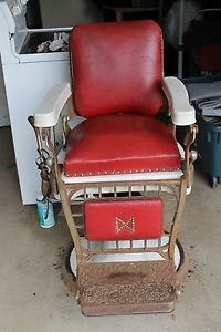 Antique Emil J Paider Red Leather Barber Chair